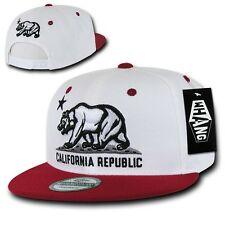White & Maroon California Republic Star Bear Vintage Flat Bill Snapback Cap Hat
