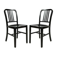 2x Aluminum 1940s 'Navy' Style Dining Chairs Anodized Finish In/Outdoor - Black