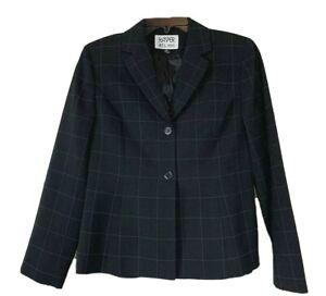 Kasper A.S.L. Petite Skirt Suit 6P Black Plaid Blazer Jacket Two Button Career
