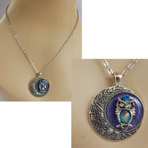 Necklace Owl Pendant Moon Silver Jewelry Handmade Women Fashion Chain Celtic