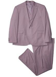 Stacy Adams Mens 3 Pc. Men's Modern Fit Suit   Purple 44R