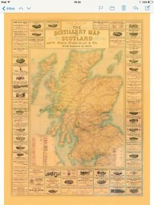 Scotch Whisky Map In sepia.1902