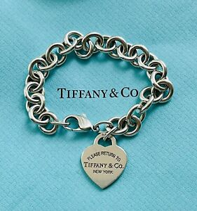 Tiffany And Co Silver Heart Tag Bracelet 18cm