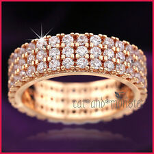 9CT ROSE GOLD GF LADY GIRLS SOLID 6MM ENGAGEMENT WEDDING DRESS CRYSTAL BAND RING