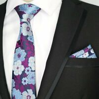Purple Blue Flower Patterned Handmade 100% Silk Tie and Pocket Square Set