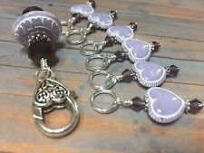 Lavender Hearts Stitch Markers & Matching Clip Holder- Snag Free Knitting Tools