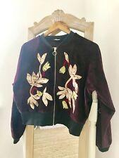 BNWOT ZARA Velvet Red Floral Bomber Jacket Coat Size M Medium 10-12 Rare