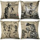 Vintage Skull Halloween Pillow Covers 18x18 Inch Set of 4 Fall Throw Pillowcase