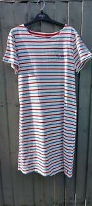 JOULES Red, White & Blue Nautical Cotton Dress, Size 16