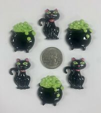 6PC HALLOWEEN BLACK BUBBLY POT CAT FLATBACK RESINS 4 HAIRBOW BOW CENTER