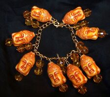 Asian Glass Buddha Charm Bracelet-Asian Face Charms, Yellow Crystals-Estate