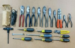 KLEIN TOOLS ELECTRICAL MIXED LOT SCREWDRIVER Pliers Cutters LINESMANS TESTERS