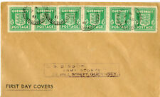 Guernsey Stamps 1/2d Strip of 6 Tied on Pristine Fdc Nice Wwii Cover