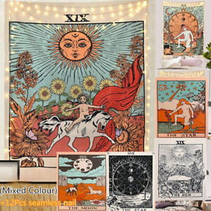 Mixed Colour Tapestry Wall Hanging Decor Star Sun and Moon Tarot Card Decoration