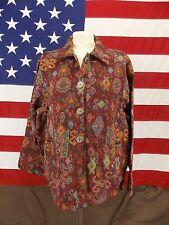 Jane Ashley Jacket Blazer Tapestry Cotton Geometric Multi-Colors Women's Size XL