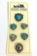 Lot Of 6 Silver Tone Turquoise Western Motif Button Covers #B9
