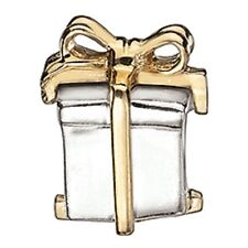 Chamilia Gold Ribbon Gift Sterling Silver &14K GOLD Bead KE-4 NEW Authentic