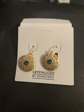 Crystallized By Swarovski Earrings Circle Goldtone  Blue Crystal Dangling New