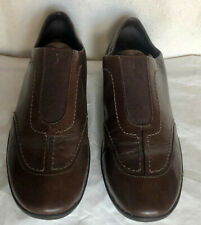 Rockport Brown Leather Suede Elastic Flat Comfort Shoes sz 6.5 M