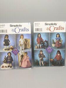 """Simplicity Crafts Magic Attic Dolls 18"""" Clothes Pattern Lot  8451 8460"""