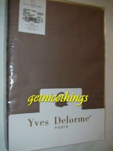 Yves Delorme Taupe Light Brown Twin Single Flat Sheet 100% Cotton Sateen $250