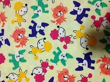 POP OF COLOR PUPS 100 % COTTON FLANNEL FABRIC ONE YARD/APPAREL/QUILT
