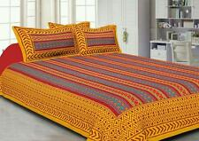 Indian Rajasthani Handmade Yellow Color Cotton Bed Sheet Two Pillow Covers Set