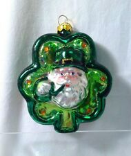 Kurt Adler Irish Lucky Clover Good Luck Glass Christmas Holiday Tree Ornament