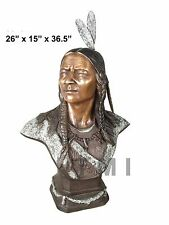 Indian Chief Head Bust Real Bronze Sculpture, Life Size