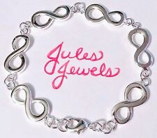 Sterling Silver 925 Plated Infinity Links Bracelet. A Great Gift!