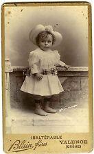 PHOTO CDV Blain frères Valence une petite fille pose chapeau mode fashion  1890