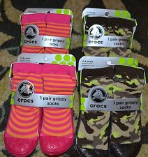 New Crocs Grippy Socks Camo Pink Orange Girl Boy Toddler Baby Shoes Non Skid