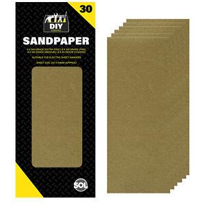 30pk 1/3 Sanding Sheets | 93mm x 227mm for Sander 60 100 150 240 Assorted Grit