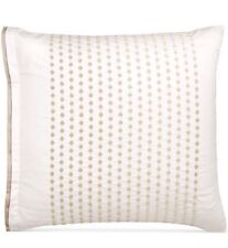 Hotel Collection Emblem PAIR EURO Shams Embroidered Pima Cotton Taupe/Bronze$160