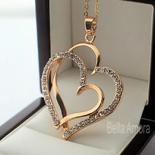 """9ct Yellow Gold Pltd Double Heart Pendant Clear CZ 18"""" Chain Necklace - New 226"""