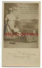 ALLWIN FOLDING GO-CART BABY STROLLER ca1905 Real Photo RPPC Ad Postcard