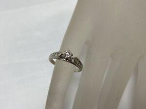 14K White Gold Diamond Engagement Ring .44 TCW Size 5.75