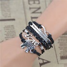 Unisex Bracelets Infinity Love Elephant charm multilayer black leather bracelet