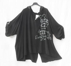 Lagenlook! Wunderschöne Long-Tunika-Bluse, Gr. 48/50, schwarz/Schrift/Steine