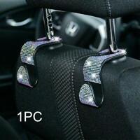 White Diamond Car Seat Headrest Hook Backseat Hanger Bag Holder Cloth D5O0