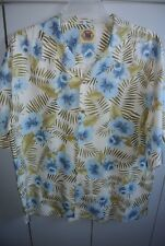 Pusser's  Mens Large  Hibiscus & Areca on Tan Silk Blend/Mint