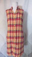 Ralph-Ralph Lauren Dress Sleeveless Plaid Fall Color Linen Shirtdress Size Small