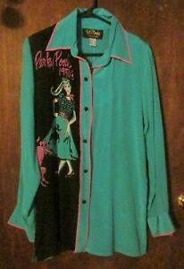 NWT Bob Mackie Wearable Art Silk Shirt Blouse 50's Woman Size S Perky Pooch