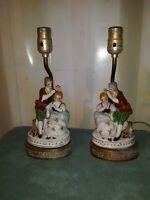 Vintage Victorian Couple  Porcelain Figural Lamp