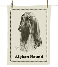 Mike Sibley Afghan Hound dog breed cotton tea towel - dog lover gift