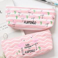 Large Makeup Pouch Pencil Case Double Zipper Canvas Pen Bag L