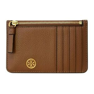 NWT TORY BURCH Top Zip Card Case Wallet Logo Classic Moose Saddle Gold 75324