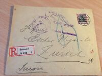 Germany Reich cover from Brussels to Zurich 17.2.1917 censor checked registered