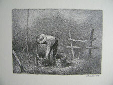 ANCHISE PICCHI - LITOGRAFIA SU CARTONCINO 1989 (contadino al lavoro nei campi)