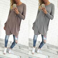 Women Causal Long Sleeve Pullover Long Top Baggy Mini Irregular T shirt Dress